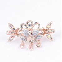 Ladies Faux Rhinestone Pendant Peacock Pattern Hair Claw Clip Jaw Hairpin Pink