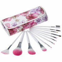 Bliss & Grace Professional Pink Floral Make-Up Brush Set, 12 pc