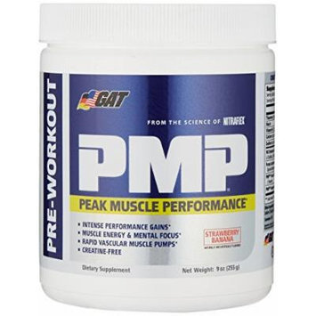 GAT PMP (Peak Muscle Performance), Next Generation Pre Workout Powder for Intense Performance Gains, Strawberry Banana, 30 Servings