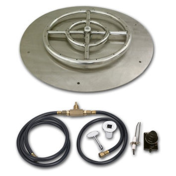 American Fireglass Round Stainless Steel Flat Pan with Spark Ignition Kit, Size: 36 in. (24 in. Fire Pit Ring)