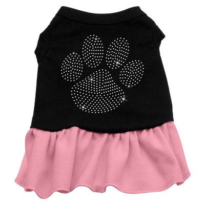 Mirage Pet Products 5712 SMBKPK Rhinestone Clear Paw Dress Black with Pink Sm 10