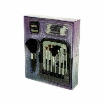 Bulk Buys Cosmetic Brush Set with Vanity Mirror, Case of 2