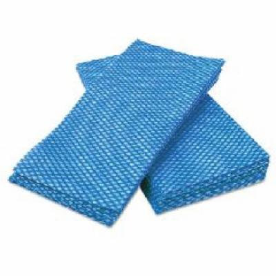 Durable Foodservice Towels, Rayon/Polyester, Blue/White, 12 x 24
