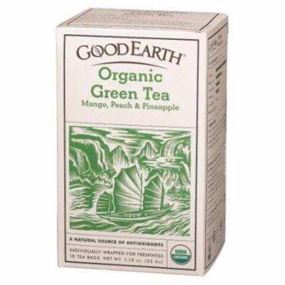 Good Earth Green Tea, Organic, Tropical Rush, Bags, 18 CT (Pack of 6)