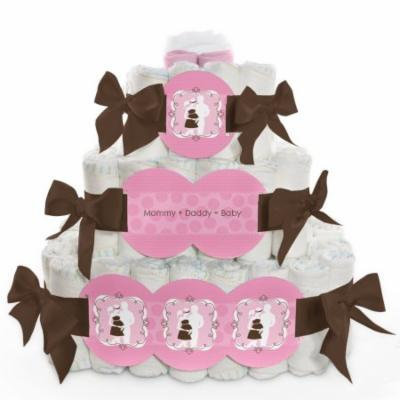 Baby Diaper Cake - Silhouette Couples It's A Girl - 3 Tier