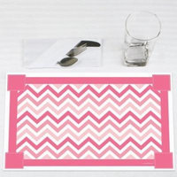 Chevron Pink - Party Placemats - Set of 12