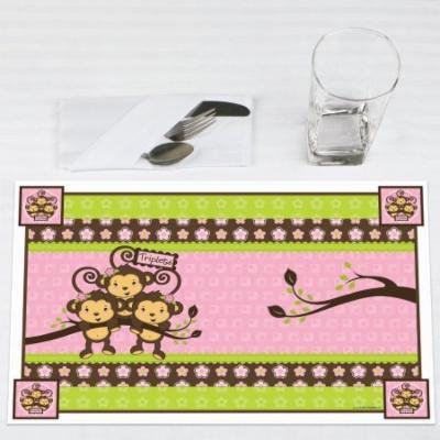 Triplet Monkey Girls - Party Placemats - Set of 12