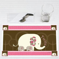 Twin Pink Baby Elephants - Party Placemats - Set of 12