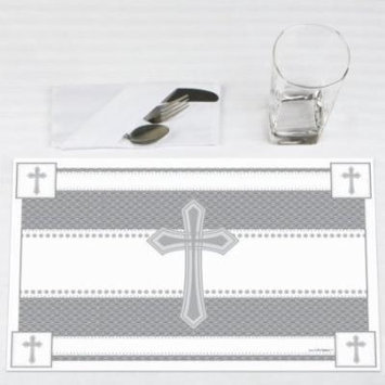 Delicate Blessings Cross - Baptism Party Placemats - Set of 12