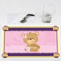 Girl Baby Teddy Bear - Party Placemats - Set of 12
