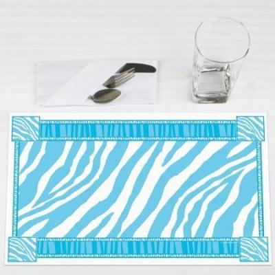 Blue Zebra - Party Placemats - Set of 12