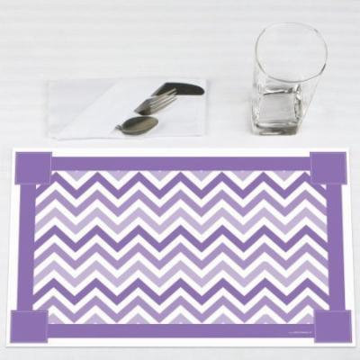 Chevron Purple - Party Placemats - Set of 12