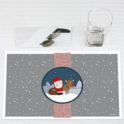 Snowy Santa - Christmas Party Placemats - Set of 12