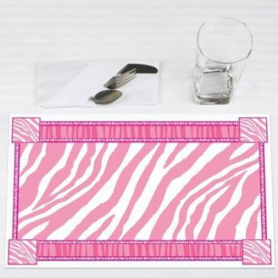 Pink Zebra - Party Placemats - Set of 12