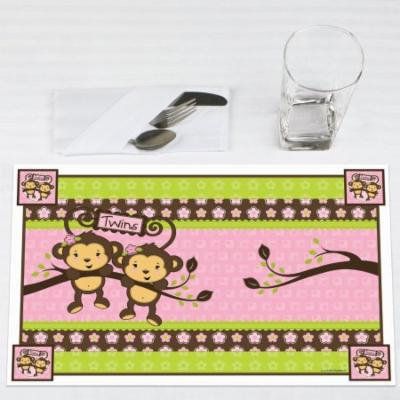 Twin Monkey Girls- Party Placemats - Set of 12