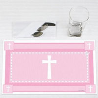Delicate Pink Cross - Baptism Party Placemats - Set of 12