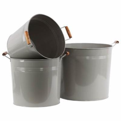 3-Pc Round Bucket Set in Gray Finish