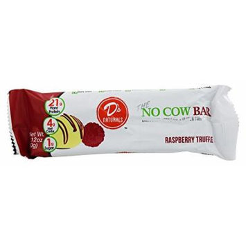 D'S NATURALS No Cow Protein Bar, Raspberry Truffle, 12 Count