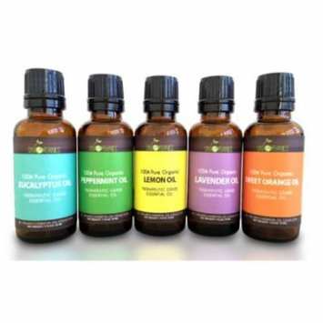 5 Essential Oil Set Sky Organics Lavender, Peppermint, Orange Lemon & Eucalyptus