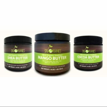 Body Butter Variety Pack of 3 (ea 16oz): Shea Butter, Cocoa Butter, Mango Butter