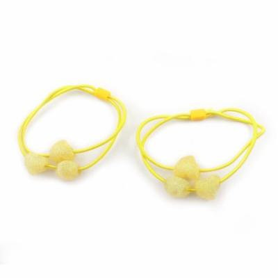2 Pcs Twinkle Heart Design Bead Accent Elastic Hair Tie Ponytail Holder Yellow