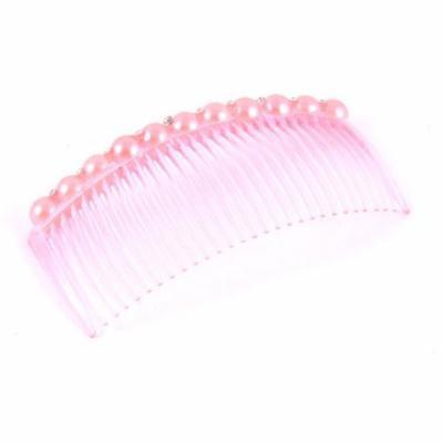 29-Teeth Faux Pearls Rhinestone Decor Plastic Hair Clip Comb PInk