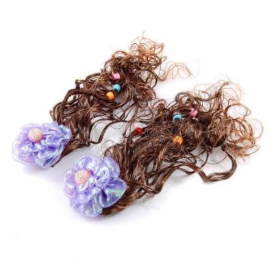 Child Girls Brown Curly Hairpieces Purple Flower Decor Hair Clip