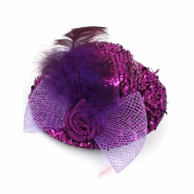 Party Purple Flower Bowknot Accent Tinsel Covered Top Hat Alligator Hair Clip