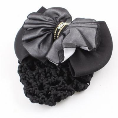 Woman Butterfly Knot Detail Snood Net French Barrette Hairclip Hair Clip Black