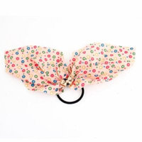 Bubble Printed Chiffon Accent Ponytail Holder Rubber Hair Tie Band Black Light Pink