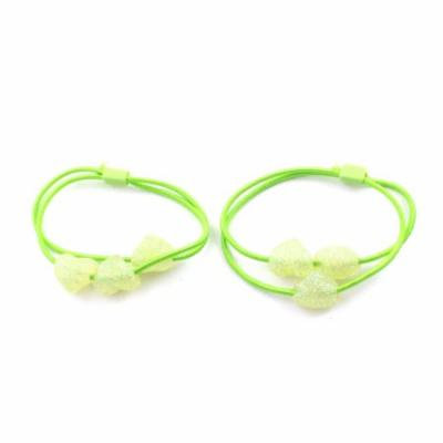 2 Pieces Twinkle Heart Design Bead Accent Elastic Hair Tie Ponytail Holder Green
