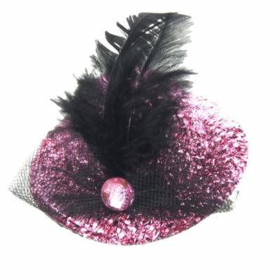 Women Black Meshy Veil Bowknot Hat Cap Type Alligator Hair Clip Clamp