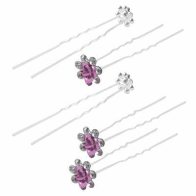 Bridal Bridesmaid Rose Flower Rhinestone Decor Hair Pin Clip Fuchsia 5pcs