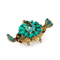 Lady Green Flower Shape Faux Crystal Accent Hair Claw Clip Clamp Decoration