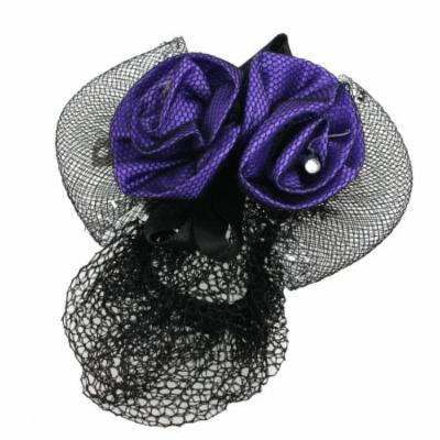 Women Black Snood Net Barrette Double Purple 3D Flower Decor Hair Clip
