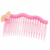 Bowknot Adorning Clear Pink 20 Teeth Comb Hair Clip for Women Girls