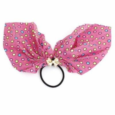 Colorful Bubble Prints Decor Ponytail Holder Stretchy Hair Tie Band Black Fuchsia