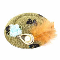 Orange Feather Faux Pearl Butterfly Decor Top Hat Lady Hair Clip