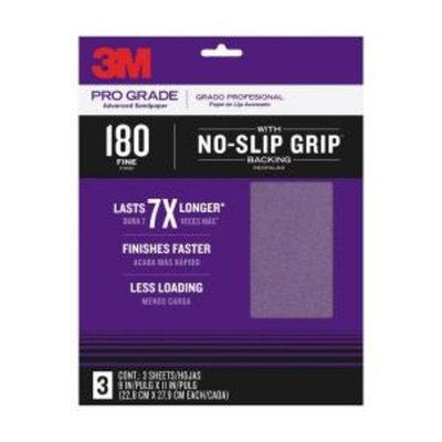 3M Pro Grade 9 in. x 11 in. 180 Grit Fine No-Slip Grip Advanced Sandpaper (3-Pack)
