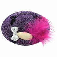 Fuchsia Faux Feather Glitter Bow Top Hat Women Alligator Hair Clip