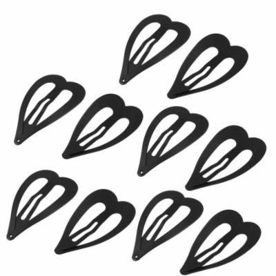 Girls Hairstyle Hairdressing Heart Design Snap Hair Clips Black x 10