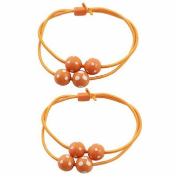 2 x White Dots Print Beads Accent Elastic Hair Tie Bands Ponytail Holder Orange