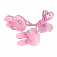 2 Pcs Rabbit Ear Bead Bowknot Rhinestone Decor Elastic Ponytail Holder Pale Pink