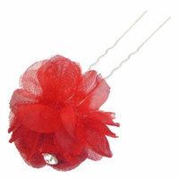 Red Flower Rhinestone Decoration Metal Prong Hair Pin for Women Ladies