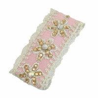 Ladies Rhinestone Lace Flower Thread Detail Light Pink Metal Hair Clip