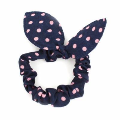 Women Rabbit Ear Shaped Elastic Band Hair Tie Ponytail Holder Dark Blue Pink