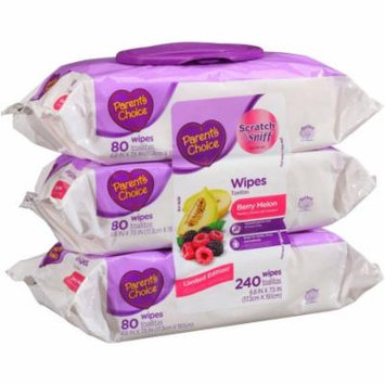 Parent's Choice Berry Melon Wipes, 80 sheets, (Pack of 3)