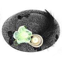 Black Feather Faux Pearl Decor Top Hat Lady Alligator Hair Clip