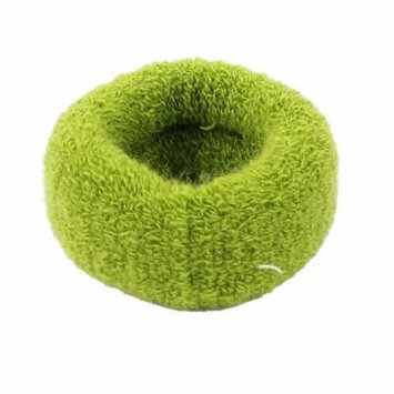 Lady Terry Elastic Ponytail Holder Hair Band Ties Rope Scrunchie Green 2 Pcs