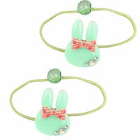 2 Pcs Rabbit Ear Bead Bowknot Rhinestone Decor Stretchy Ponytail Holder Green